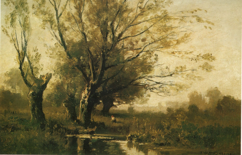 Photo wallpaper trees, river, visual arts, girl collects mushrooms, HALBERG-KRAUSS