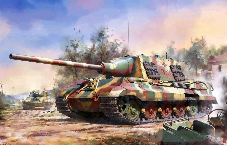 Photo wallpaper Germany, tank fighter, Hunting tiger, WWII, Self-propelled artillery, 128-mm gun Pak.44