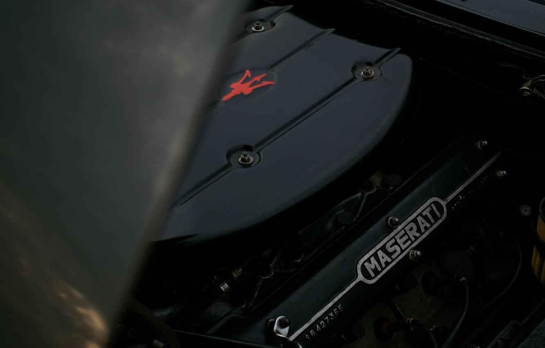 Photo wallpaper black, Maserati, 1969, Roadster, spider, under the hood, Ghibli Spider