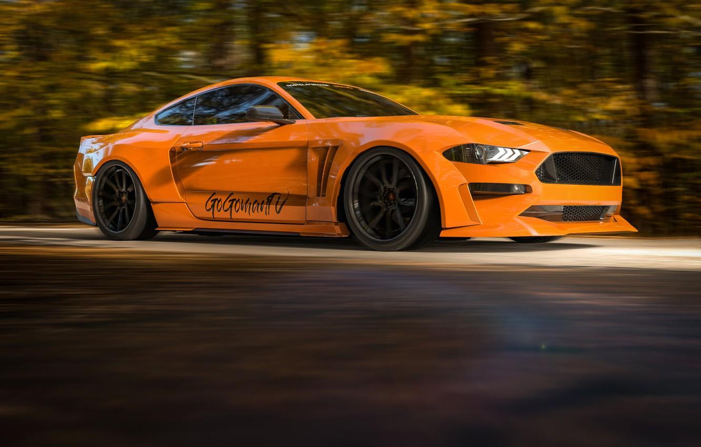 Photo wallpaper Mustang, Auto, Machine, Orange, Ford Mustang, Rendering, Transport & Vehicles, Rostislav Prokop, by Rostislav Prokop, …