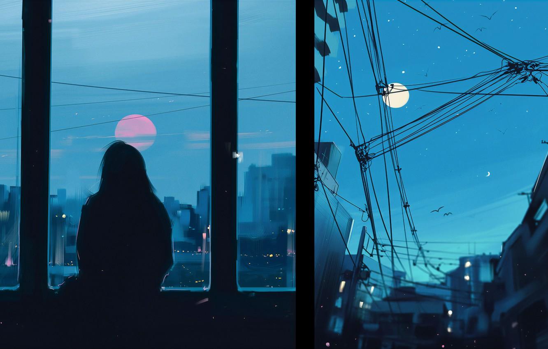 Photo wallpaper girl, figure, silhouette, art, art, Aenami, by Aenami, Alena Aenam The, by Alena Aenami, Evening …