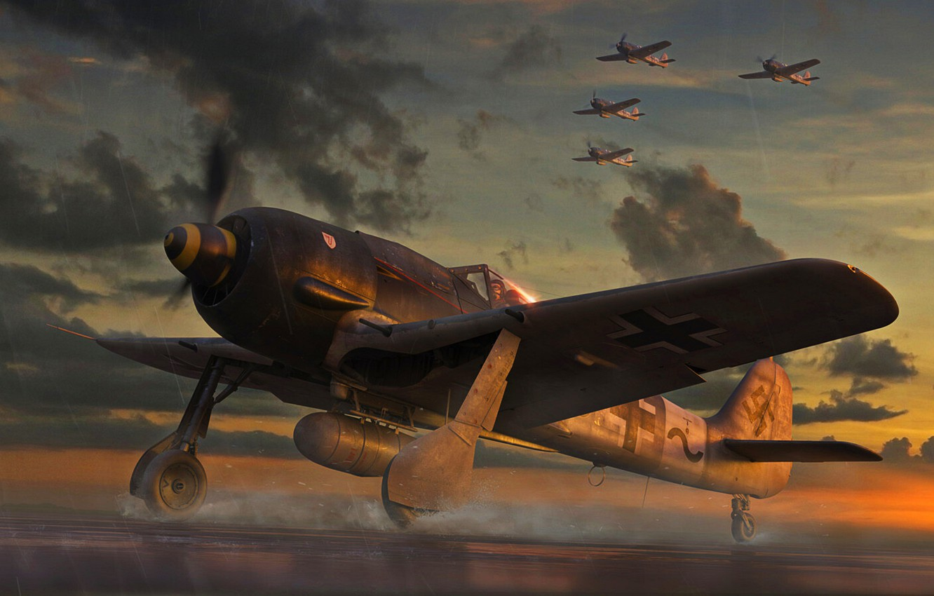 Photo wallpaper Germany, Fighter, Air force, Fw-190, Fw.190A-8, Combat aircraft