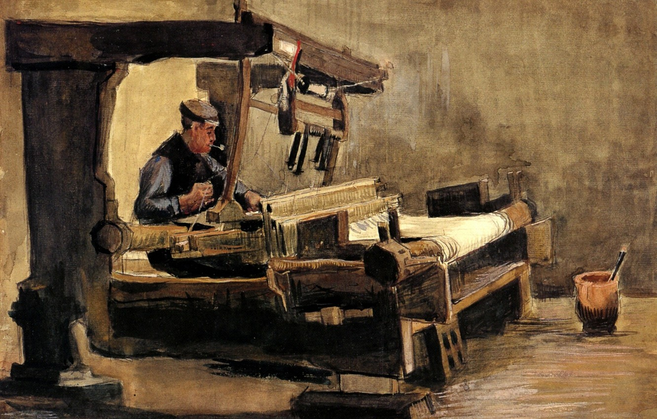 Photo wallpaper white fabric, Vincent van Gogh, Weaver 3, weaver with a pipe