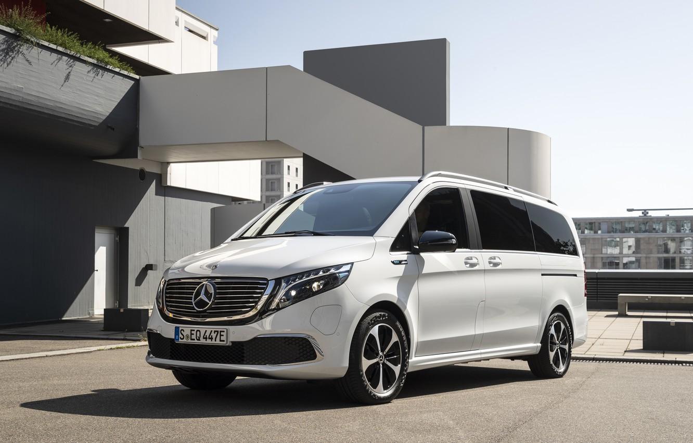 Photo wallpaper white, Mercedes-Benz, van, EQV, electric concept