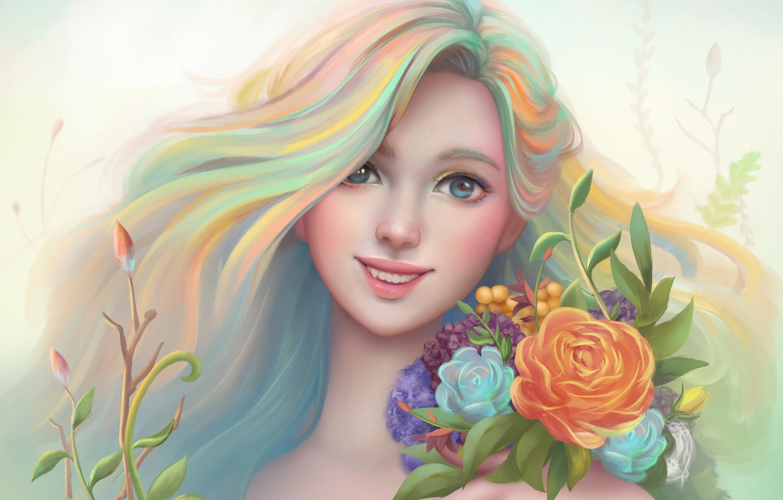 Photo wallpaper girl, flowers, smile, figure, portrait