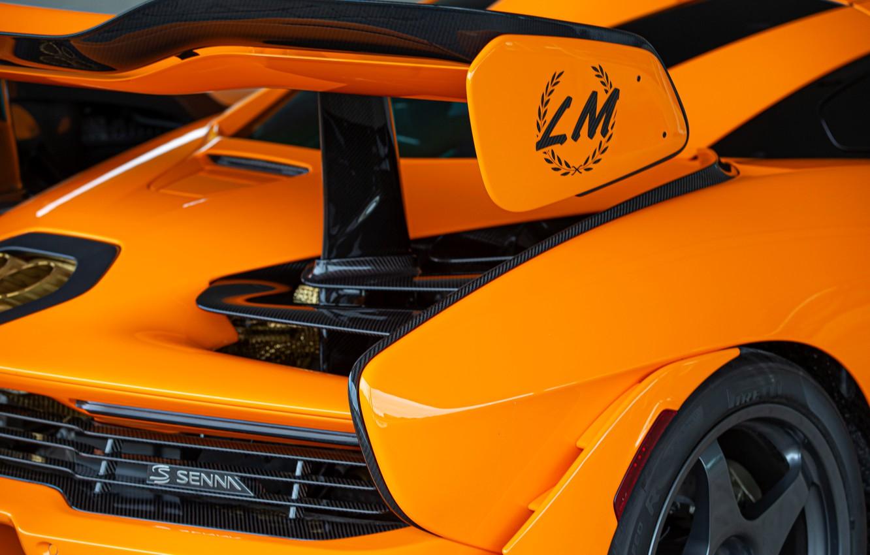 Photo wallpaper orange, McLaren, wing, Senna, MSO, 2020, Senna LM