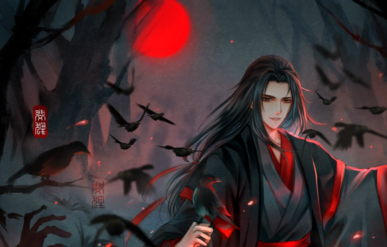 Photo wallpaper night, long hair, evil, black magic, blood Moon, black crows, fog in the forest, Chinese …