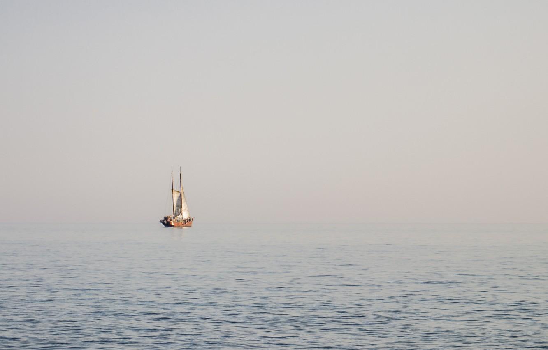 Photo wallpaper sea, fog, ship, morning, sails