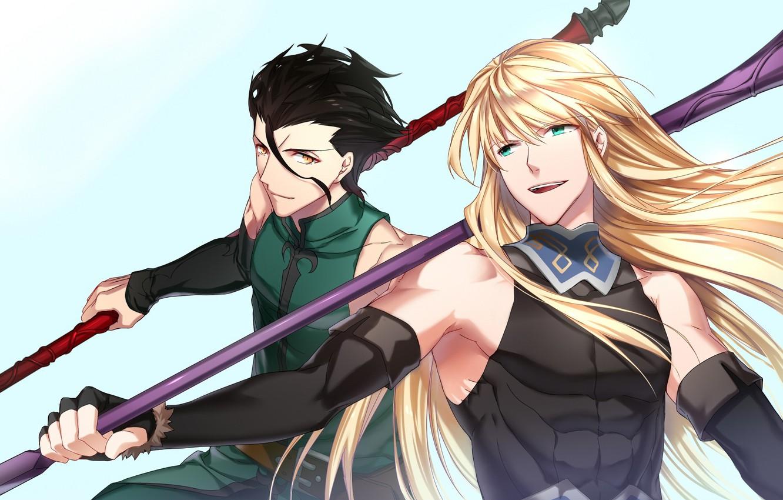 Wallpaper anime, art, guys, Lancer, spears, spearmen, Fate