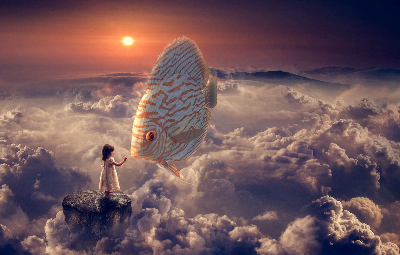 Photo wallpaper clouds, fish, girl