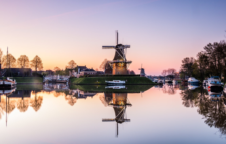 Photo wallpaper morning, Netherlands, Holland, Dokkum