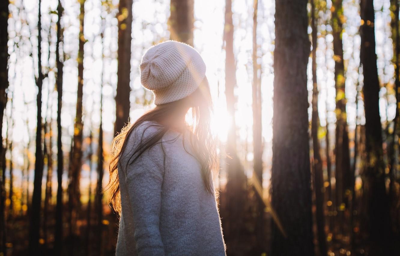 Photo wallpaper autumn, forest, girl, the sun, rays, trees, nature, looks