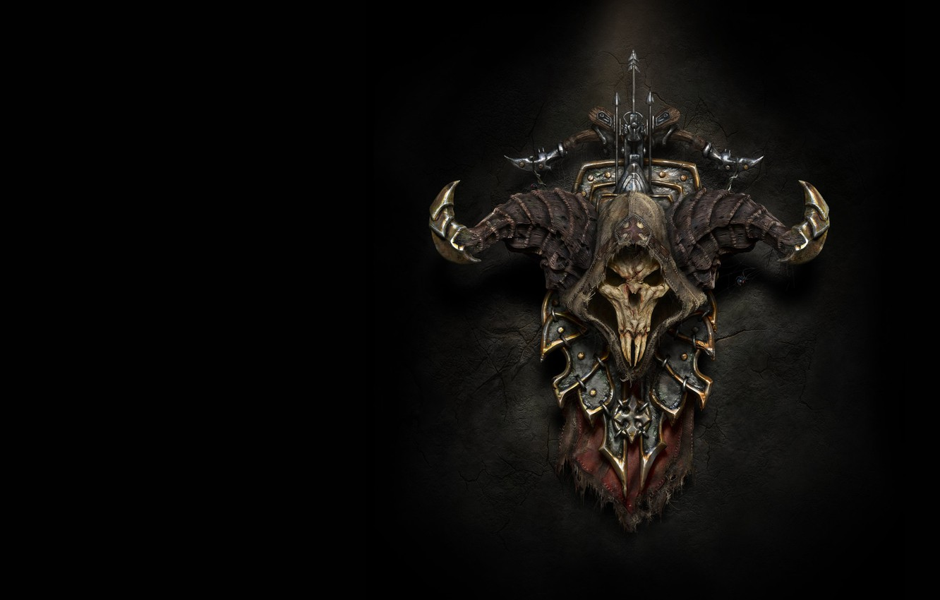 Photo wallpaper weapons, the game, skull, spider, fantasy, art, horns, shield, coat of arms, crossbow, diablo 3 …