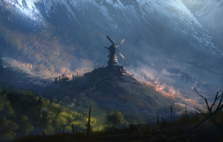 Photo wallpaper Mountains, Mill, Forest, Fantasy, Landscape, Art, Art, Windmill, Denis Loebner, by Denis Loebner, Forgotten windmill, …