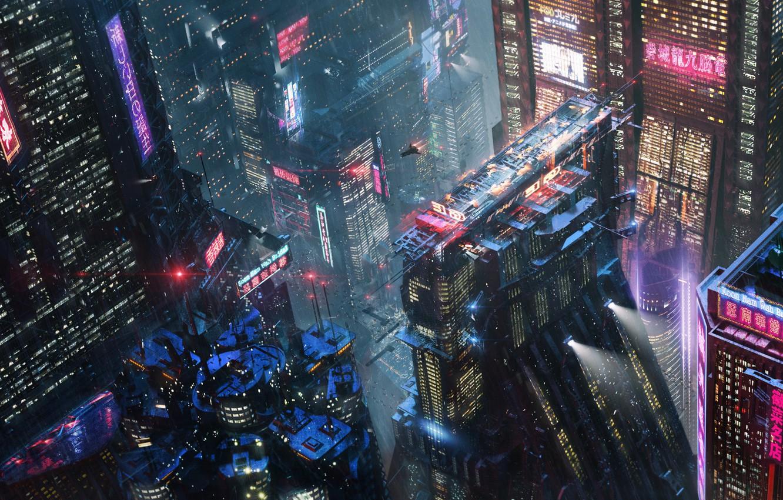 Photo wallpaper Night, The city, Future, Neon, Rain, Skyscrapers, City, Architecture, Fiction, Concept Art, Cyberpunk, Erik Osvald, …