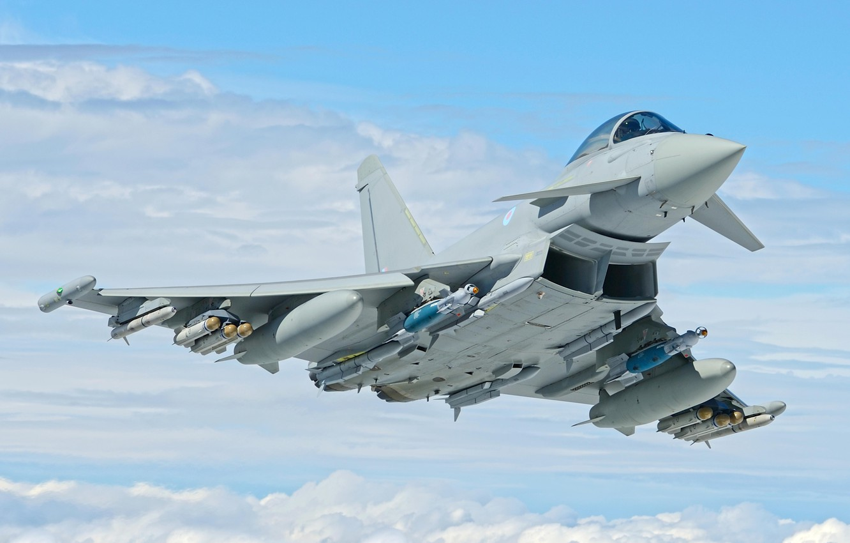 Photo wallpaper RAF, Eurofighter Typhoon, JDAM, PGO, Multi-Role Fighter, PTB, MBDA Meteor, AIM-132 ASRAAM, Brimstone ATGM