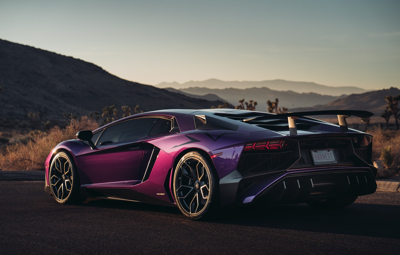 Photo wallpaper Lamborghini, supercar, rear view, Aventador, HRE, Superveloce, LP-750, Aventador SV, Viola Parsifae