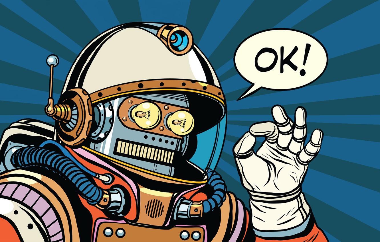 Photo wallpaper Robot, the suit, gesture