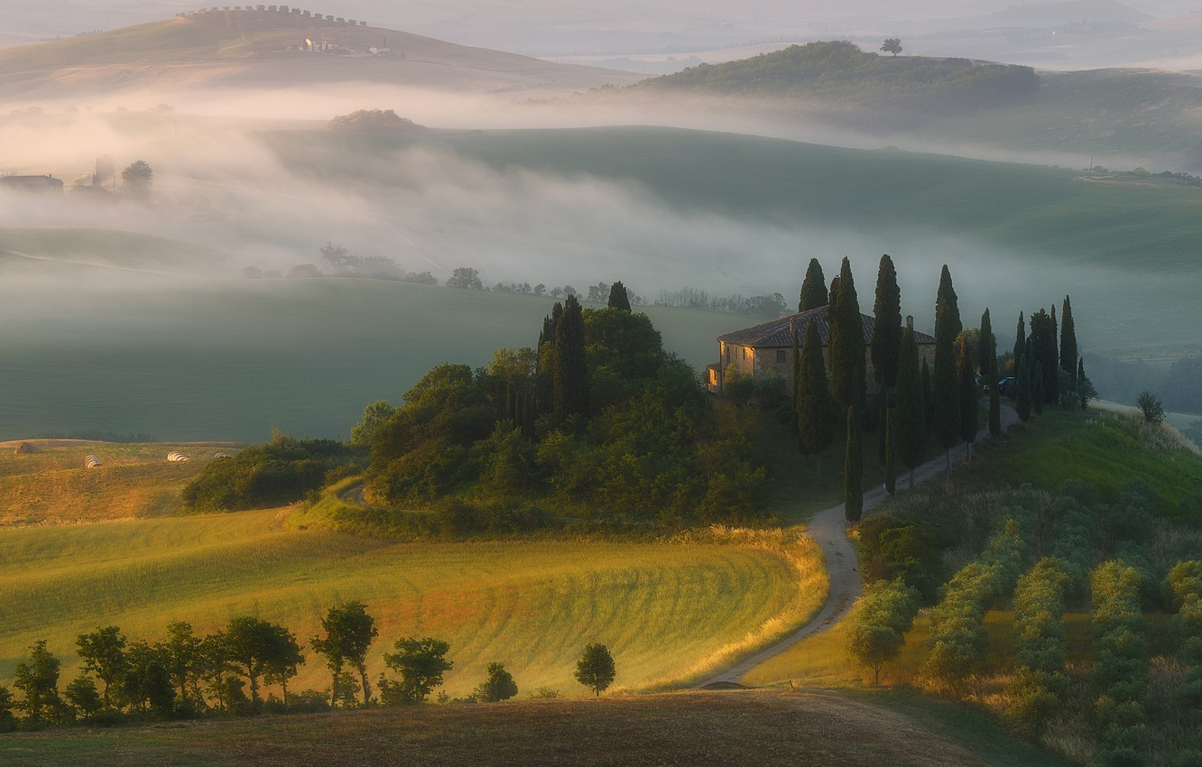 Photo wallpaper mountains, fog, house, hills, field, morning, Italy, cypress, Tuscany