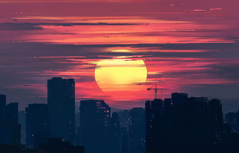 Photo wallpaper Sunset, Figure, The city, Art, Dawn, Aenami, by Aenami, Alena Aenam The, by Alena Aenami, …