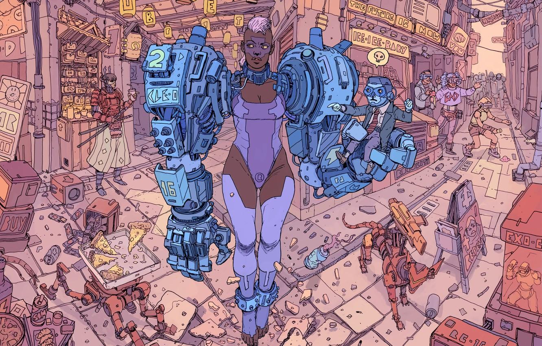 Photo wallpaper Girl, Robot, Robots, Garbage, Fantasy, Art, Art, Robot, Robots, Fiction, Cyborg, Sci-Fi, Cyberpunk, Cyberpunk, Market, …