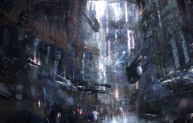 Photo wallpaper The city, Future, Machine, City, Art, Art, Fiction, Concept Art, Architecture, Science Fiction, Cyberpunk, Environments, …