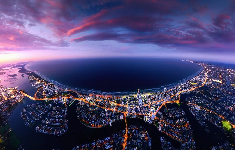 Photo wallpaper sea, the sky, clouds, the city, lights, the ocean, coast, Australia, Queensland, QLD, Gold Coast