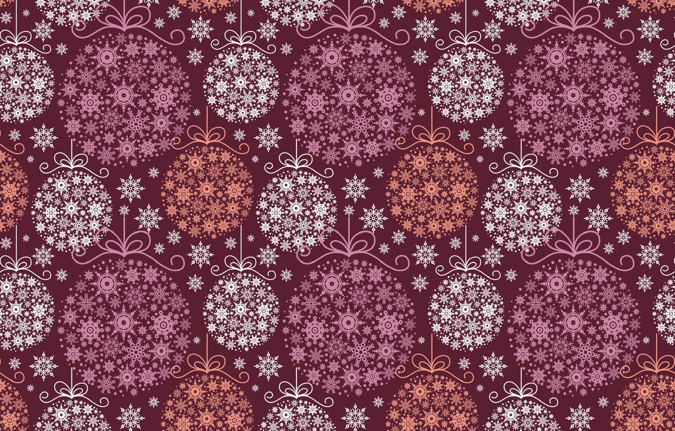 Photo wallpaper holiday, new year, art, decoration, snowflake, Christmas balls