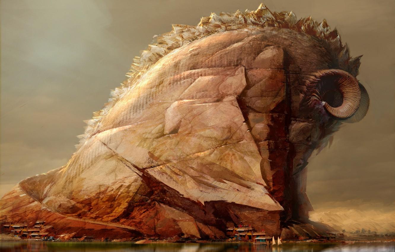 Photo wallpaper Mountains, Rock, Fantasy, Art, Daniel Dociu, Guild Wars, Animal, by Daniel Dociu, Wold wonders, Mountain ...