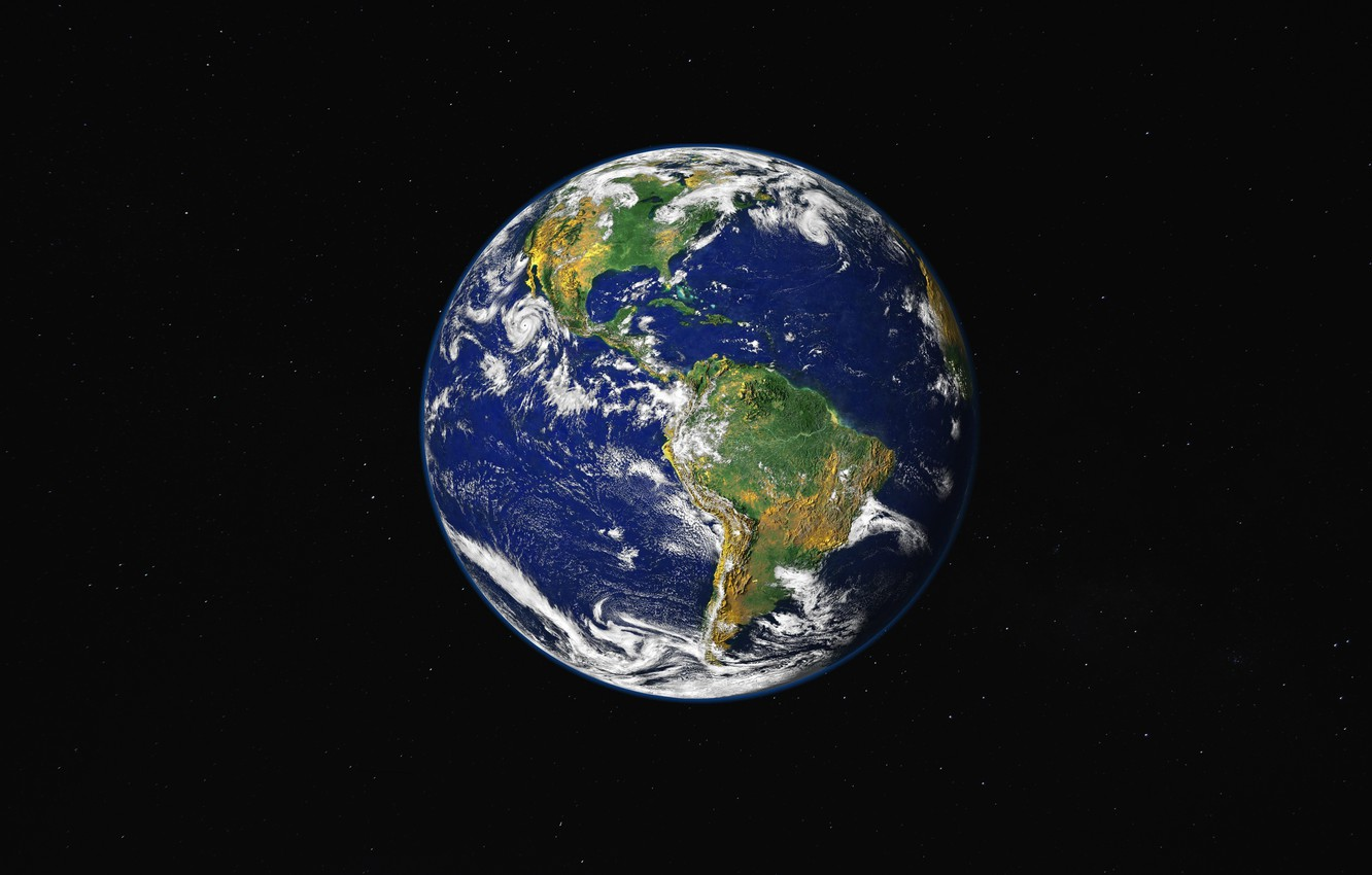 Photo wallpaper Planet, House, Space, Earth, America, Solar System