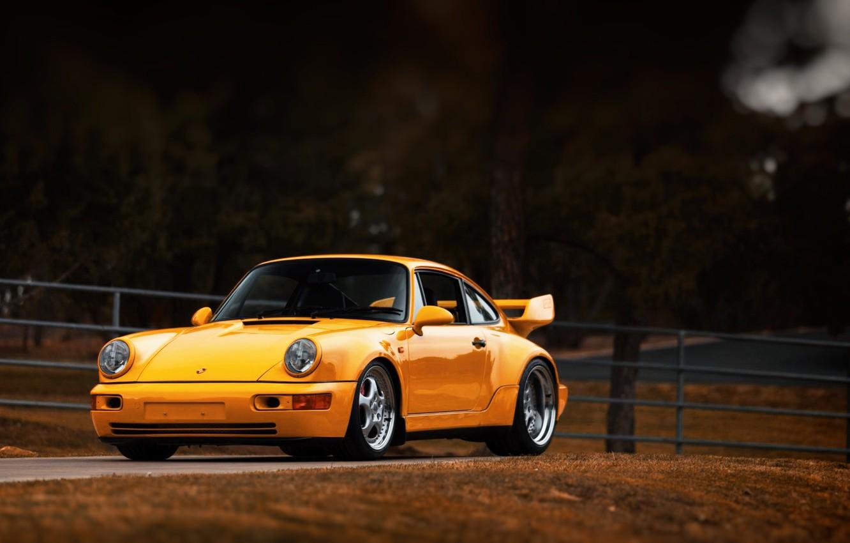 Photo wallpaper Auto, Yellow, 911, Porsche, Machine, Porsche 911, Carrera, 1993, Sports car, Porsche 911 Carrera, 911 …