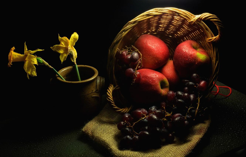 Photo wallpaper drops, flowers, darkness, table, apples, grapes, red, pot, fruit, twilight, black background, still life, basket, …