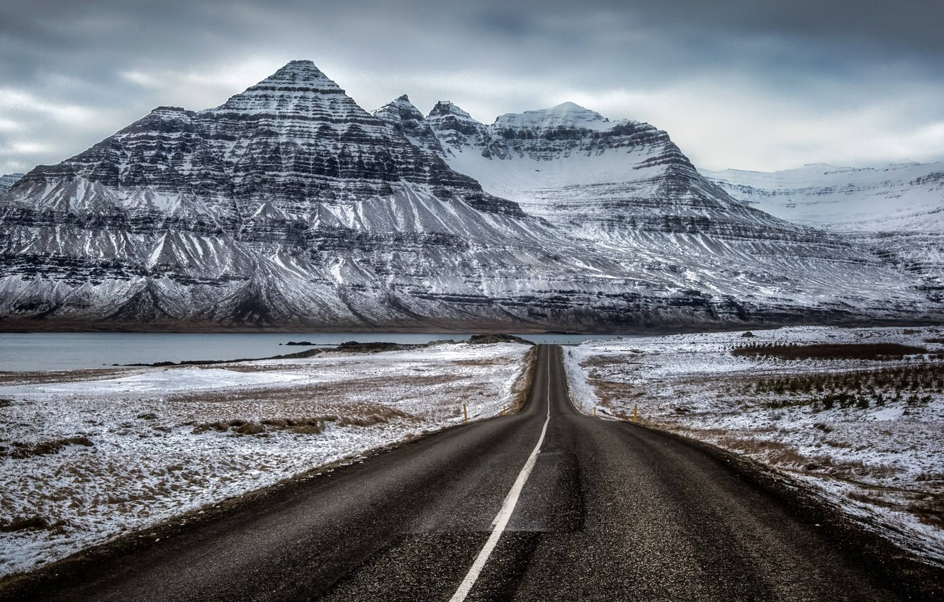 Photo wallpaper road, mountain, Iceland