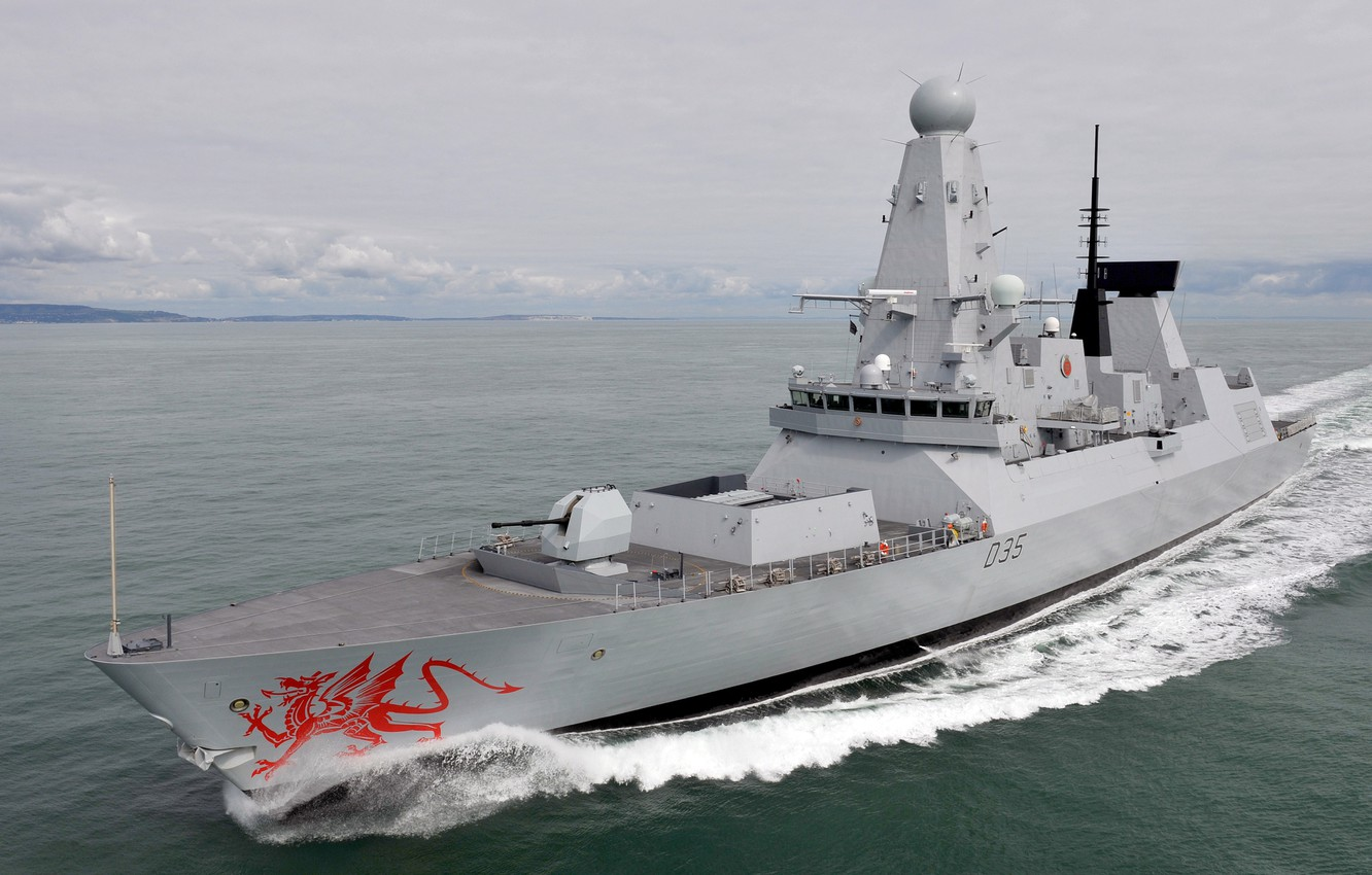 Photo wallpaper HMS Dragon, Royal Navy, The destroyers type 45, Type 45 destroyer