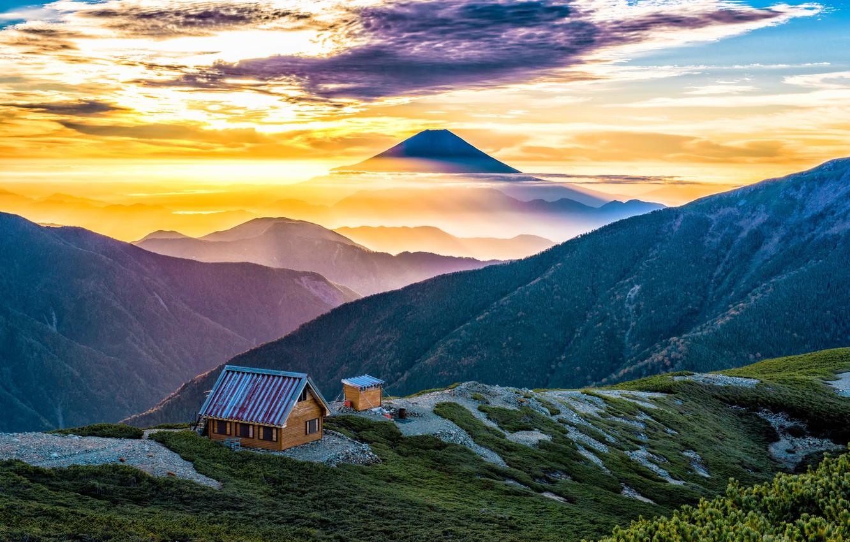 Photo wallpaper clouds, mountains, house, Japan, Fuji