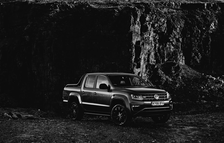 Photo wallpaper Volkswagen, pickup, Amarok, Black Edition, 2019, at the rock