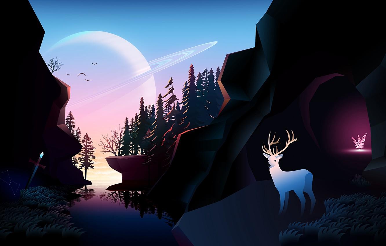 Photo wallpaper Planet, Fantastic, Wallpaper, Forest, Deer