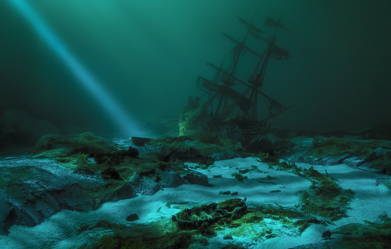 Photo wallpaper ship, the bottom, ray, shipwreck, ship, bottom, shipwreck, beam, Sergey Paryshkiv