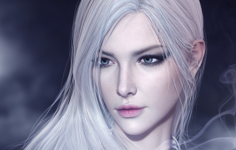 Photo wallpaper look, girl, face, rendering, blonde