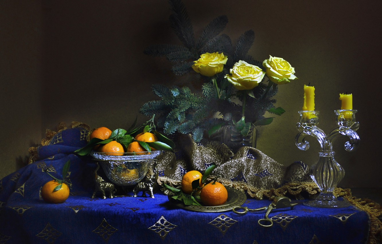 Photo wallpaper flowers, branches, roses, spruce, candles, vase, still life, tablecloth, tangerines, Valentina Fencing
