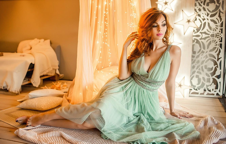 Photo wallpaper sexy, dress, model, pretty, redhead, A Diakov George