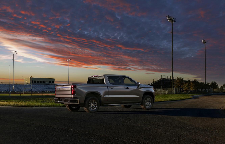 Photo wallpaper Chevrolet, pickup, Silverado, 2019, Silverado LT, near the stadium