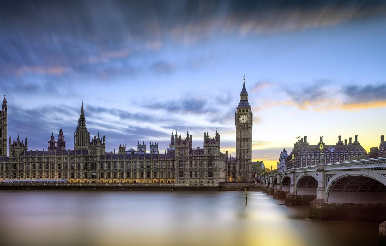 Photo wallpaper bridge, river, London, Big Ben, Velikobritaniya