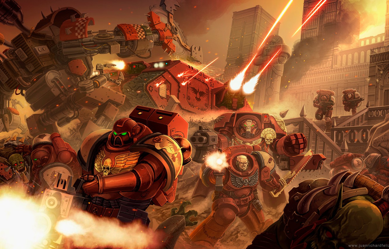 Photo wallpaper space marines, orcs, tank, Warhammer 40 000, Blood Ravens, terminator armor