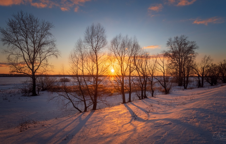 Photo wallpaper sunset, winter, snow, Antson Elvis