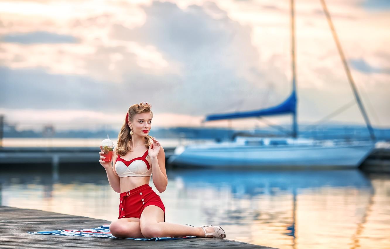 Photo wallpaper retro, shorts, yacht, blonde, cocktail, top, vintage, Anastasia Barmina