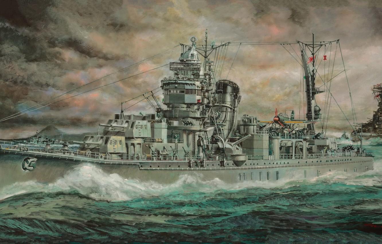 Photo wallpaper Japan, light cruiser, Yahagi, the Japanese Imperial Navy, IJN Light Cruiser Yahagi