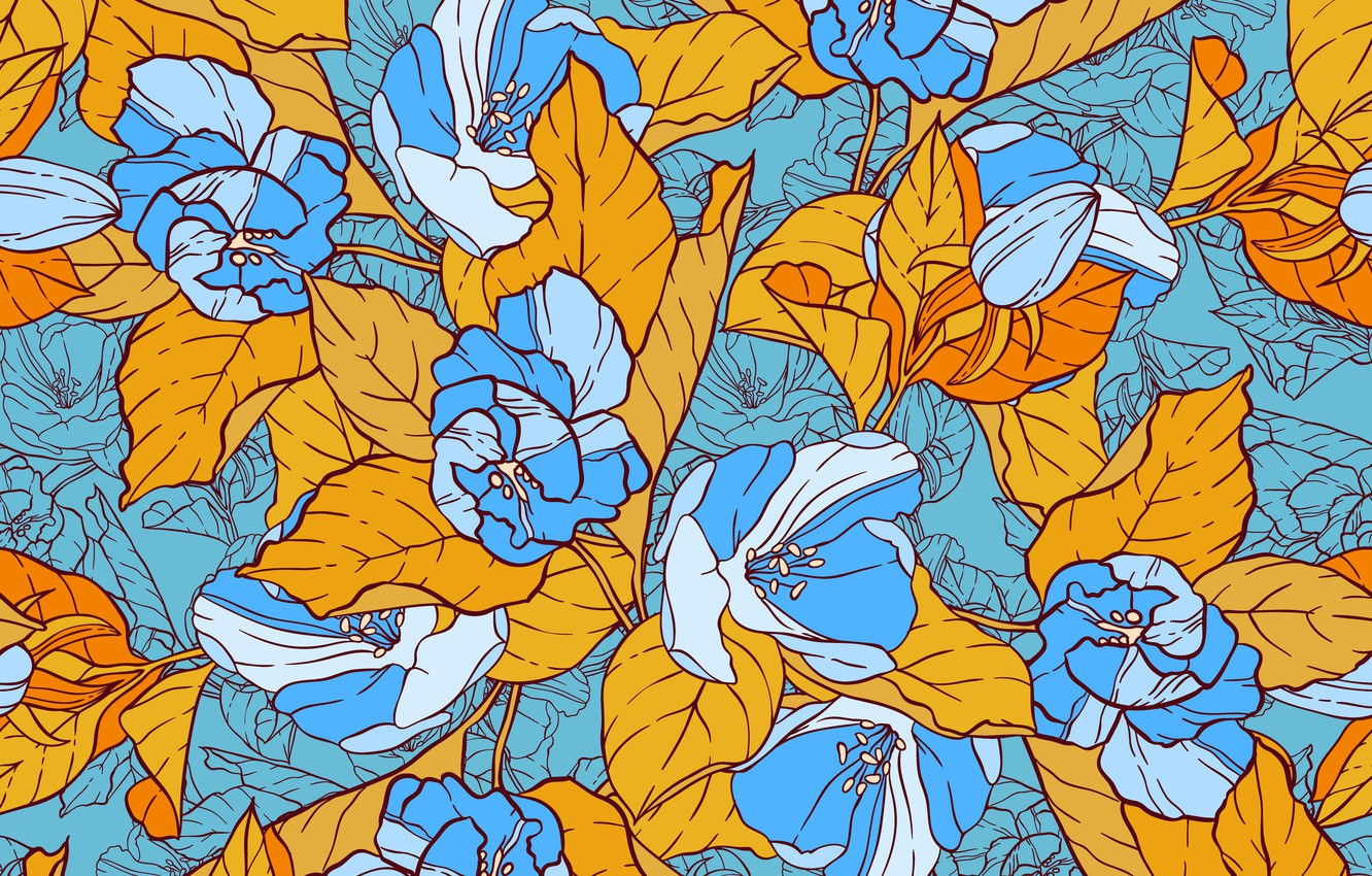 Photo wallpaper flowers, yellow, blue, Vintage, Template, Floral