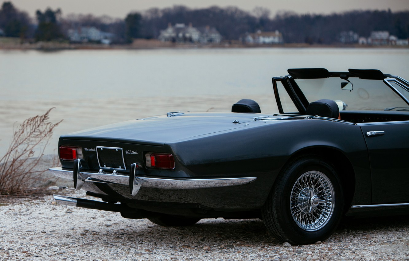 Photo wallpaper black, Maserati, 1969, Roadster, spider, the rear part, Ghibli Spider