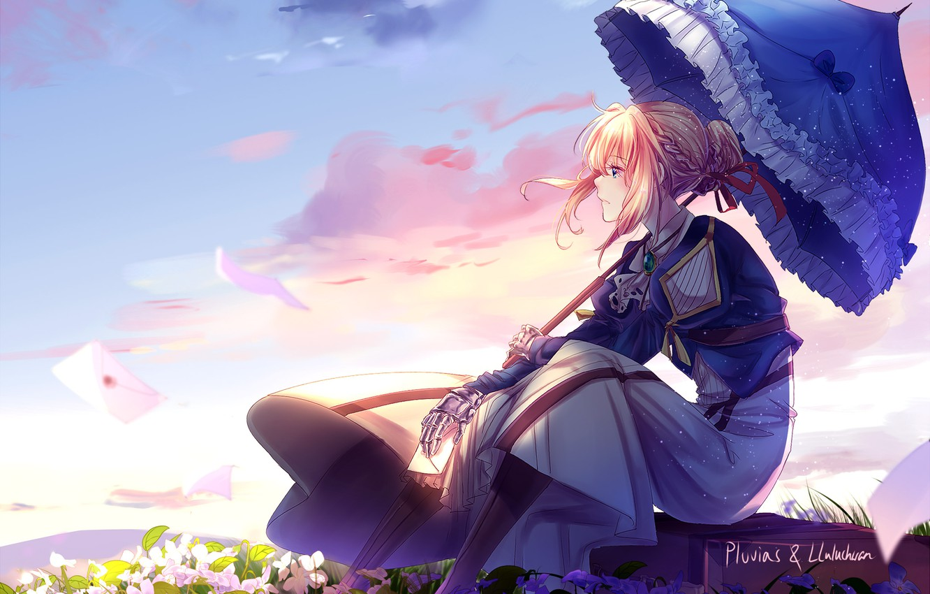 Photo wallpaper sadness, umbrella, suitcase, wildflowers, violet, blue sky, ruffles, pink clouds, letters, iron hand, Violet Evergarden
